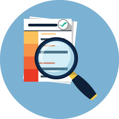 Document with Magnifying Glass Flat icon