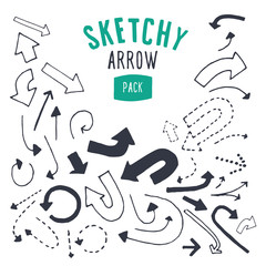 Hand drawn vector arrow set.