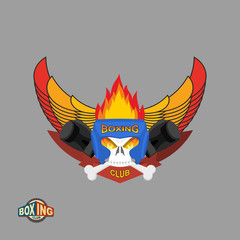 Sports shield emblem. Boxing logo skull. Logotype  boxing Club.