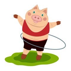 cheerful pig athlete