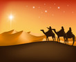 The Three Kings Riding with Camels in the Desert - 80645895