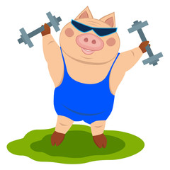 Pig with dumbbells