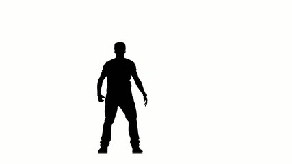 Sporty man dancing hip hop kramp on white background, silhouette