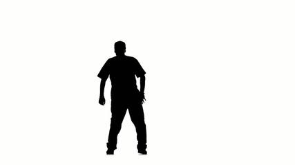 Dancing moves like hip hop kramp on white background, silhouette