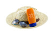 Hat with sunglasses and body lotion on white background - 80646467