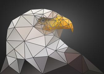 Abstract polygonal triangle bald eagle. Geometric illustration