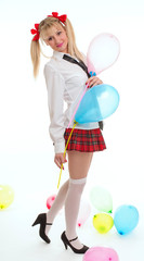 young woman doing school girl on stage