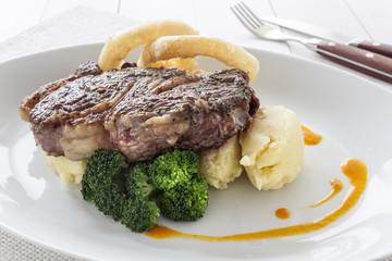 Ribeye steak with potato purre