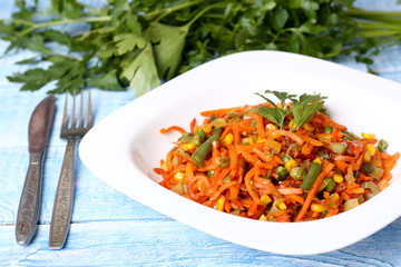 stewed vegetables carrots, peas, peppers, beans