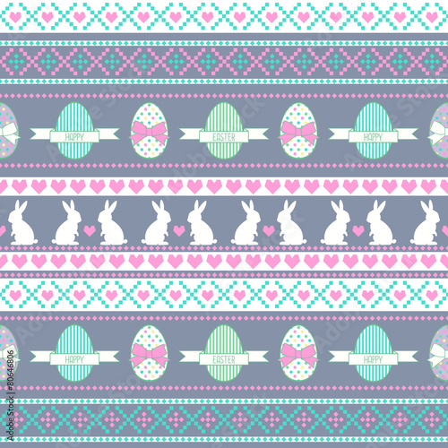 Materiał do szycia Easter pattern. Background with Bunny, eggs