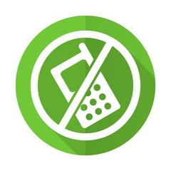 no phone green flat icon no calls sign