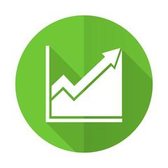 histogram green flat icon stock sign