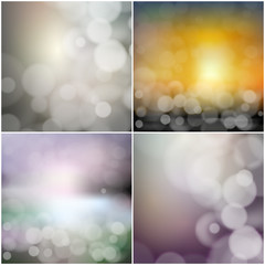 Big set of blurry backgrounds with bokeh effect. Abstract vector