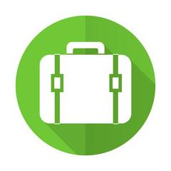 bag green flat icon luggage sign