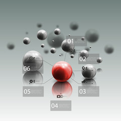 Spheres in motion on gray background. Red sphere with