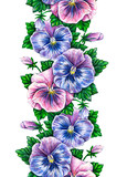 Viola tricolor. Floral seamless watercolor frame border