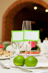 Green decorated table for two