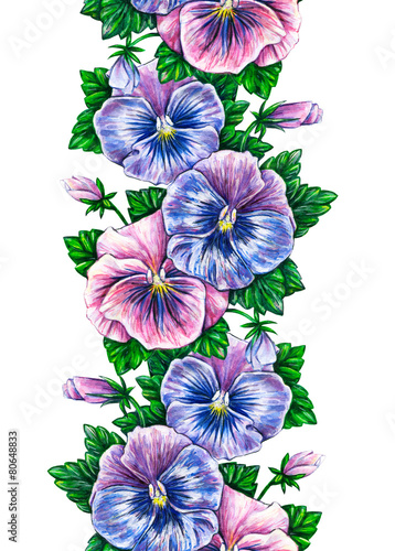 Foto op Canvas Pansies Viola tricolor. Floral seamless watercolor frame border