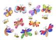 Kinderzeichnung - Schmetterlinge und Bienen