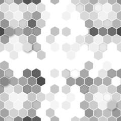 Hexagonal seamless pattern. Repeating geometric gray background