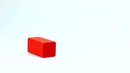 Building village of wooden color cubes