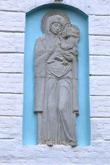 Bas-relief on the wall of the Cathedral of the Georgian Mother o