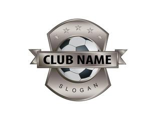 Metal shield soccer logo