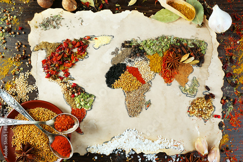 Canvas Kruiden 2 Map of world made from different kinds of spices