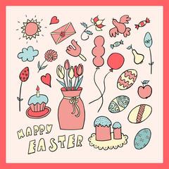 Easter hand drawn cartoon card