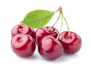 Sweet cherry with leaf