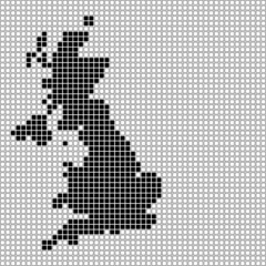 イギリスのピクセルアート(黒と白)
