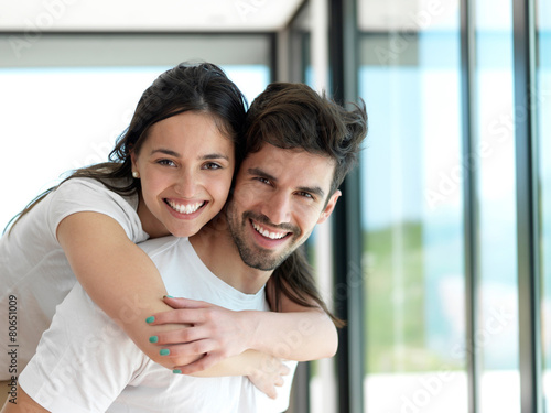 relaxed young couple at home - 80651009