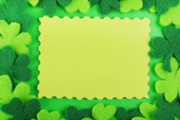 Greeting card for Saint Patrick's Day with shamrocks