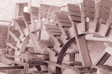 Effect vintage. Mill,shovel by wood