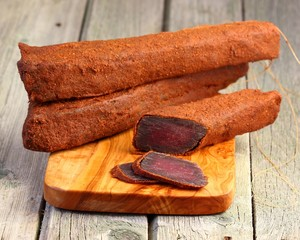 Beef jerky. Cut pieces of dried meat