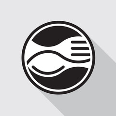 monochrome icon with fork and spoon