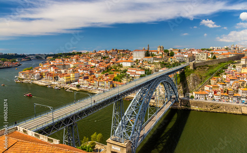 Leinwanddruck Bild Porto with Dom Luis Bridge - Portugal