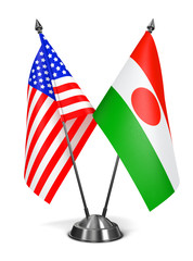 USA and Niger - Miniature Flags.