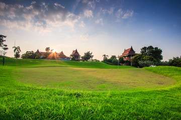 Golf field in the sunset