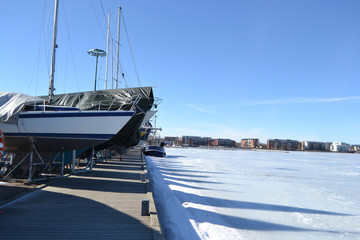 Lappeenranta harbor at winter.