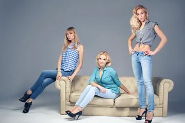 Fashion photo of three blonde woman.