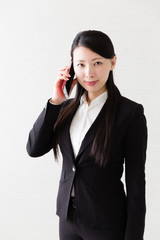 asian businesswoman talking