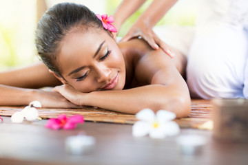 Woman having relaxing massage of back