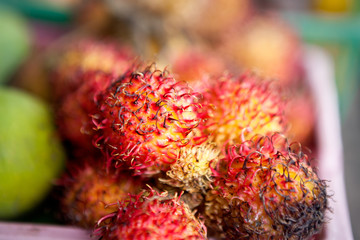 Tropical fruit, rambutan on market