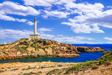 Cabo de Palos Lighthouse on La Manga, Murcia, Spain.