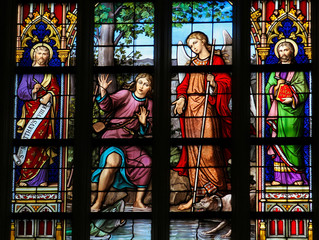 Stained Glass of Tobias, Raphael and the fish