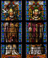 Stained Glass of Saint Gregory and Saint Ambrose