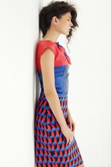 Fashion model in bright dress