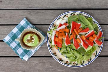 Crab stick salad with wasabi dressing