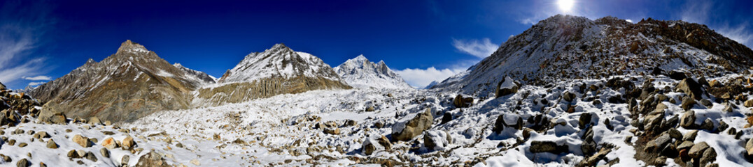 panorama of Gangotri glacier with Bhagirathi peaks in Garhwal